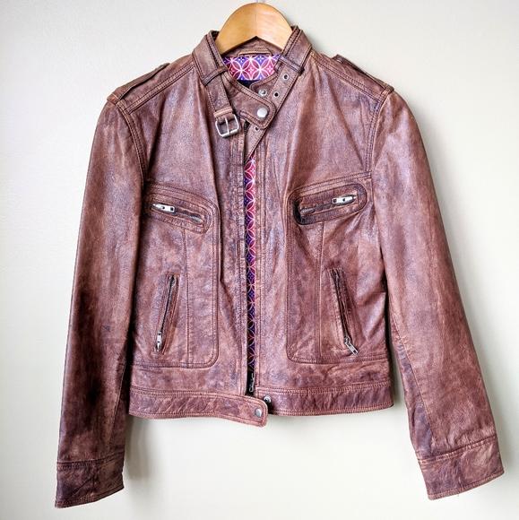 Derimod Expo Distressed Leather Biker Jacket 🏍️
